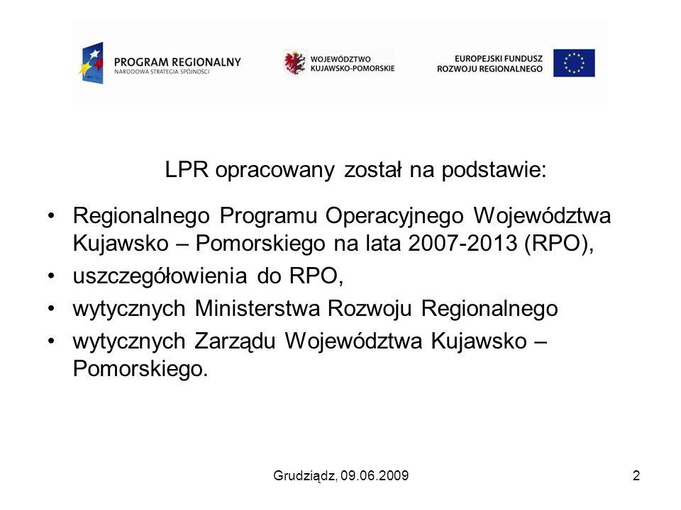Grudziądz, 09.06.20092 LPR opracowany został na podstawie: Regionalnego Programu Operacyjnego Województwa Kujawsko – Pomorskiego na lata 2007-2013 (RP