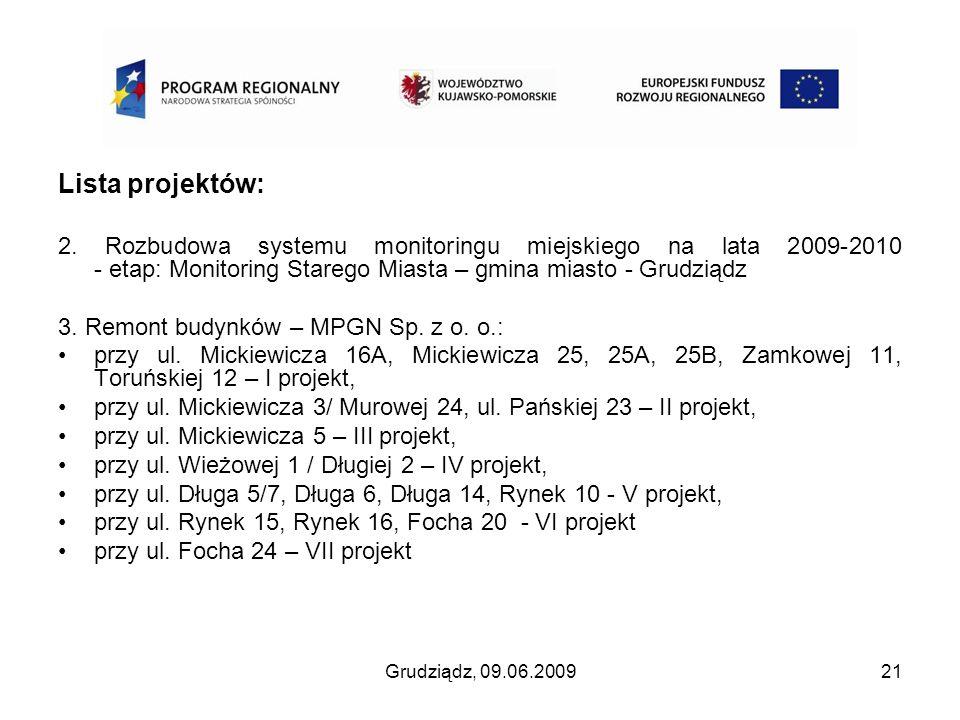 Grudziądz, 09.06.200921 Lista projektów: 2. Rozbudowa systemu monitoringu miejskiego na lata 2009-2010 - etap: Monitoring Starego Miasta – gmina miast
