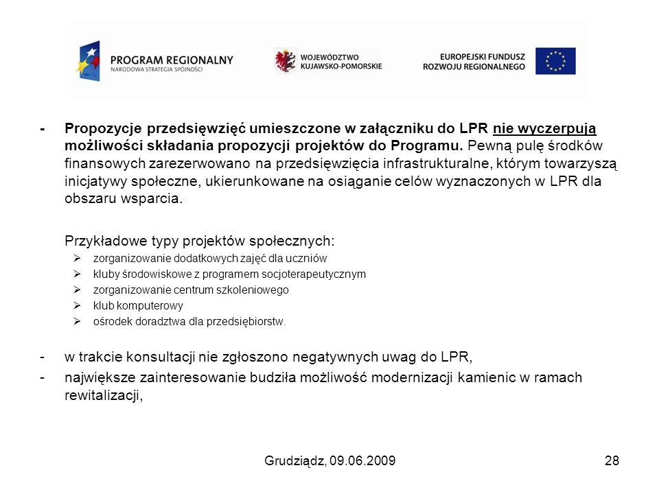 - Propozycje przedsięwzięć umieszczone w załączniku do LPR nie wyczerpują możliwości składania propozycji projektów do Programu. Pewną pulę środków fi
