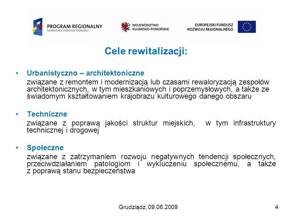 Grudziądz, 09.06.200915 listopad 2008 - opublikowanie przez Urząd Marszałkowski w Toruniu ostatecznej wersji Wytycznych dotyczących przygotowania Lokalnego Programu Rewitalizacji, grudzień 2008 - zwrócenie się z pismem do potencjalnych beneficjentów o przygotowanie Opisów projektów, zgodnie wzorem zamieszczonym w ostatecznych Wytycznych, grudzień 2008 – uzupełnianie i aktualizacja Lokalnego Programu Rewitalizacji zgodnie z ostatecznymi Wytycznymi…, styczeń 2009 przeprowadzenie wewnętrznych konsultacji projektu Przebudowy ulic Starego Miasta, styczeń 2009 zmiana fragmentów Wytycznych … przez Urząd Marszałkowski w Toruniu, luty 2009 – aktualizacja Opisów projektów – zgodnie z wytycznymi ze stycznia 2009, marzec 2009 – przygotowanie wersji projektu LPR do konsultacji, kwiecień 2009 – złożenie zapytania do Regionalnej Dyrekcji Ochrony Środowiska o konieczność przeprowadzenia Strategicznej Oceny Ochrony Środowiska dla Lokalnego Programu Rewitalizacji Miasta Grudziądza, kwiecień 2009 - udostępnienie projektu LPR na urzędowej stronie internetowej do konsultacji społecznych czerwiec 2009 – przyjęcie projektu LPR uchwałą Rady Miejskiej