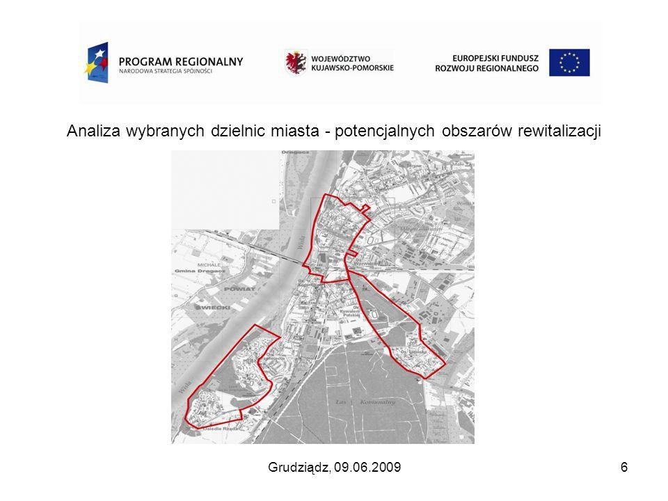 Grudziądz, 09.06.20096 Analiza wybranych dzielnic miasta - potencjalnych obszarów rewitalizacji