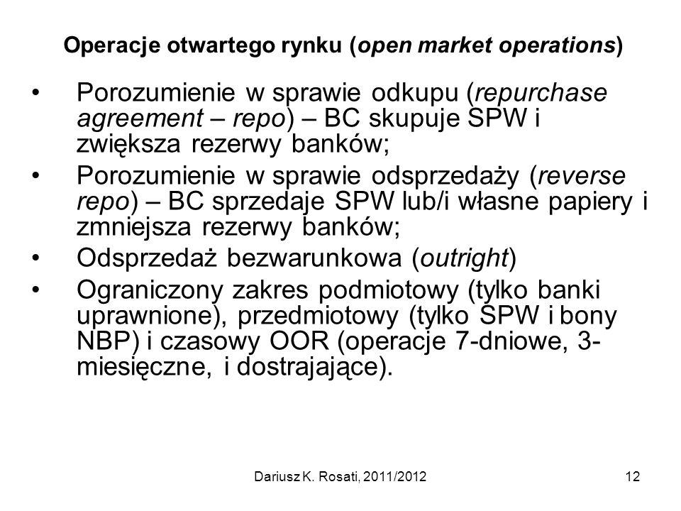 Operacje otwartego rynku (open market operations) Porozumienie w sprawie odkupu (repurchase agreement – repo) – BC skupuje SPW i zwiększa rezerwy bank