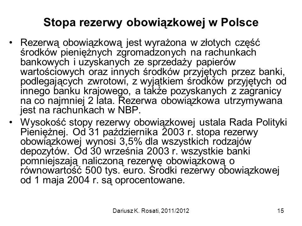 Stopa rezerwy obowiązkowej w Polsce Rezerwą obowiązkową jest wyrażona w złotych część środków pieniężnych zgromadzonych na rachunkach bankowych i uzys
