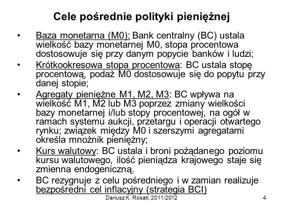 Cele pośrednie polityki pieniężnej Baza monetarna (M0): Bank centralny (BC) ustala wielkość bazy monetarnej M0, stopa procentowa dostosowuje się przy