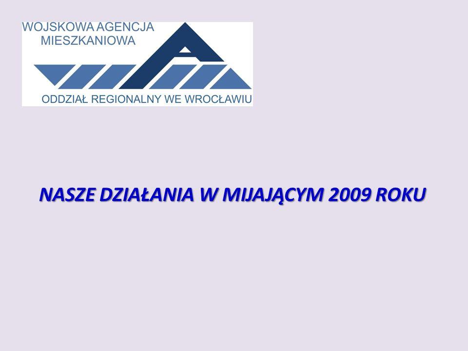 INWESTYCJE MIESZKANIOWE W LATACH 2010-2011 Oddział WAM we Wrocławiu, wykonał prace przygotowawcze umożliwiające budowę osiedli mieszkaniowych dla żołnierzy z garnizonu Wrocław i Opole.