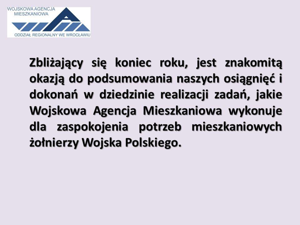 Zbliżający się koniec roku, jest znakomitą okazją do podsumowania naszych osiągnięć i dokonań w dziedzinie realizacji zadań, jakie Wojskowa Agencja Mieszkaniowa wykonuje dla zaspokojenia potrzeb mieszkaniowych żołnierzy Wojska Polskiego.