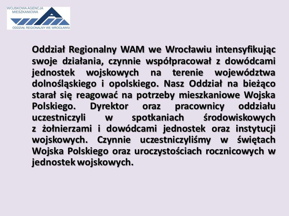 Oddział Regionalny WAM we Wrocławiu intensyfikując swoje działania, czynnie współpracował z dowódcami jednostek wojskowych na terenie województwa dolnośląskiego i opolskiego.