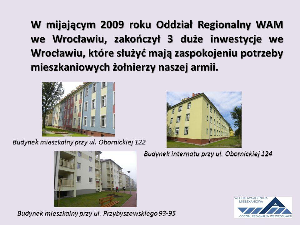 W mijającym 2009 roku Oddział Regionalny WAM we Wrocławiu, zakończył 3 duże inwestycje we Wrocławiu, które służyć mają zaspokojeniu potrzeby mieszkaniowych żołnierzy naszej armii.