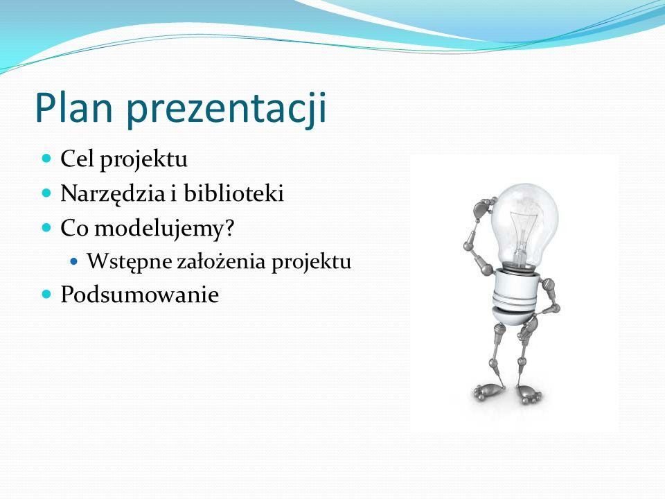 Plan prezentacji Cel projektu Narzędzia i biblioteki Co modelujemy.