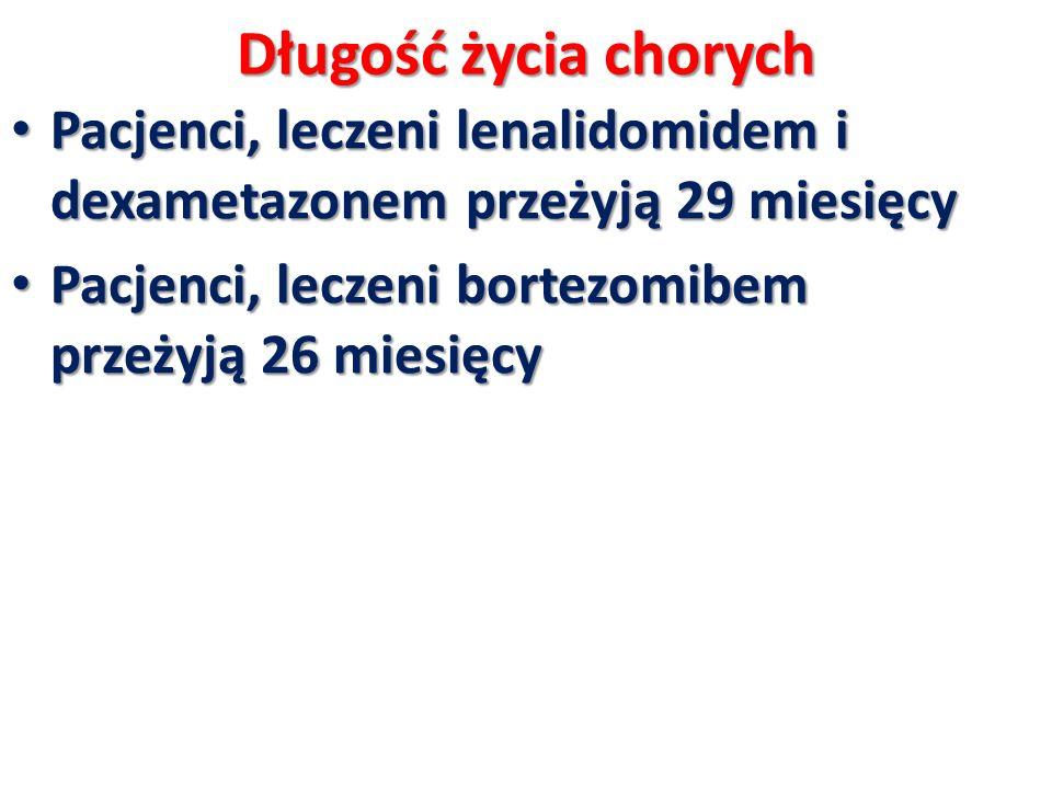 Długość życia chorych Pacjenci, leczeni lenalidomidem i dexametazonem przeżyją 29 miesięcy Pacjenci, leczeni lenalidomidem i dexametazonem przeżyją 29