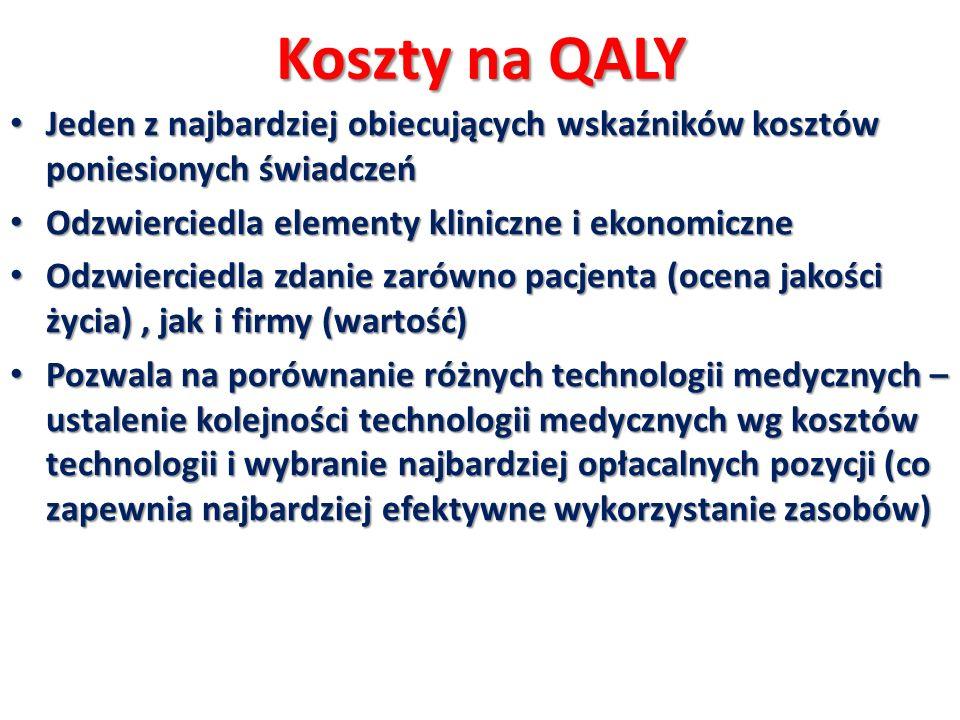 Obliczenie QALY QALY przy zastosowaniu lenalidomidu: 2,4 lat * 0,68 = 1,6 QALYs QALY przy zastosowaniu lenalidomidu: 2,4 lat * 0,68 = 1,6 QALYs QALY przy zastosowaniu bortezomibu: 2,1 lat* 0,60 = 1,2 QALYs QALY przy zastosowaniu bortezomibu: 2,1 lat* 0,60 = 1,2 QALYs QALY = liczba lat, które przeżyje pacjent * jakość życia