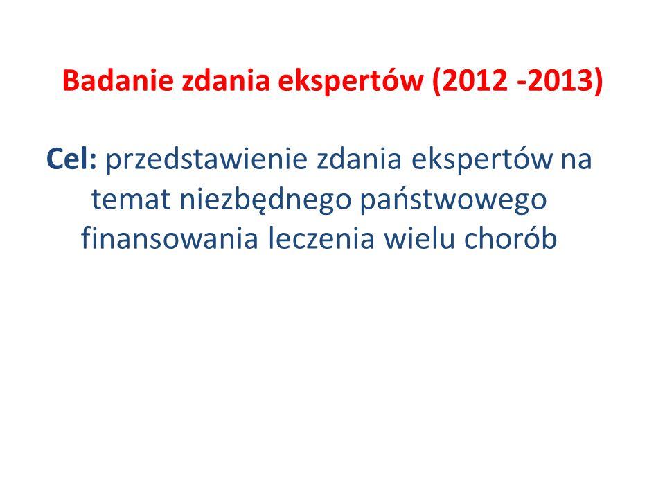 Badanie zdania ekspertów (2012 -2013) Cel: przedstawienie zdania ekspertów na temat niezbędnego państwowego finansowania leczenia wielu chorób