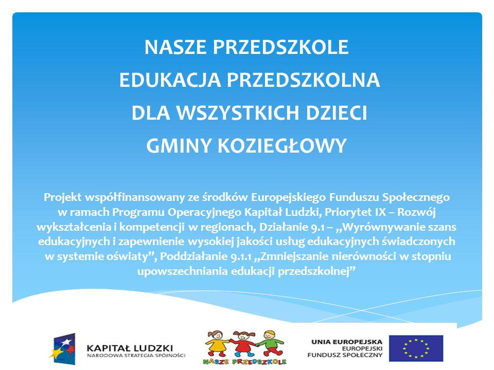 Cel projektu Upowszechnienie edukacji przedszkolnej w Gminie Koziegłowy ze szczególnym uwzględnieniem potrzeb dzieci niepełnosprawnych oraz promowanie zagadnień związanych z zasadami równości płci.