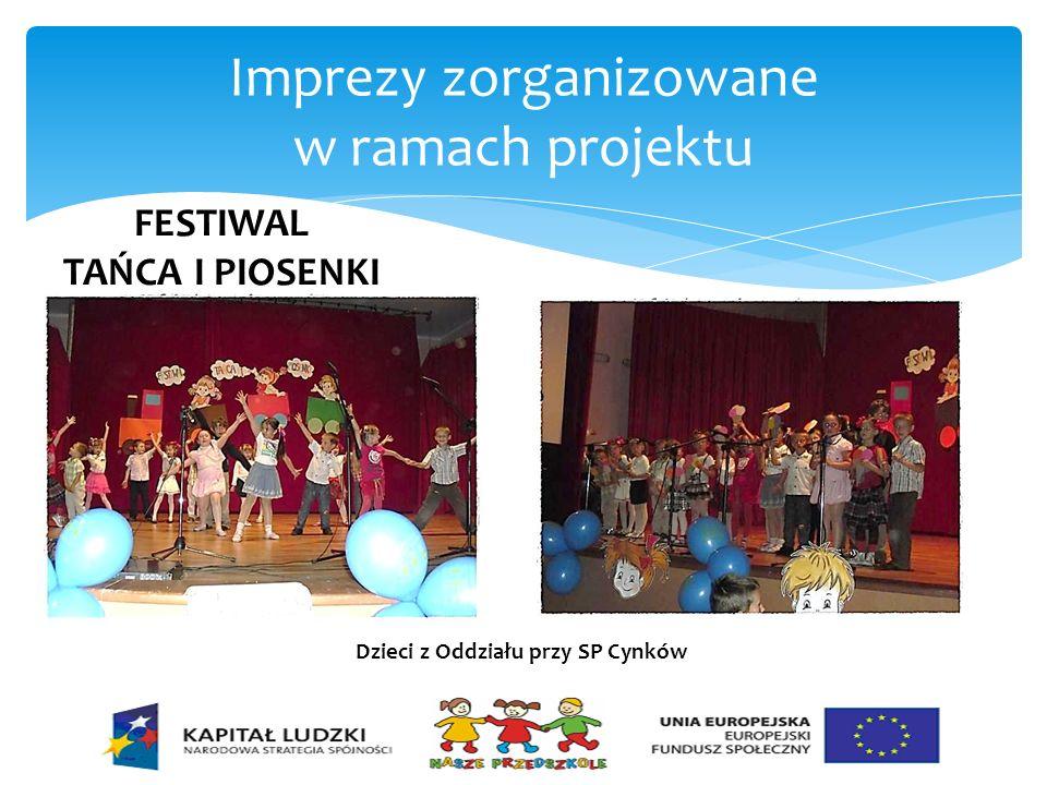Imprezy zorganizowane w ramach projektu FESTIWAL TAŃCA I PIOSENKI Dzieci z Oddziału przy SP Cynków