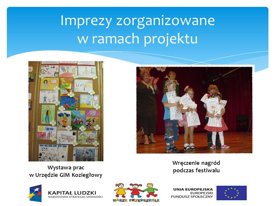 Imprezy zorganizowane w ramach projektu Wystawa prac w Urzędzie GiM Koziegłowy Wręczenie nagród podczas festiwalu