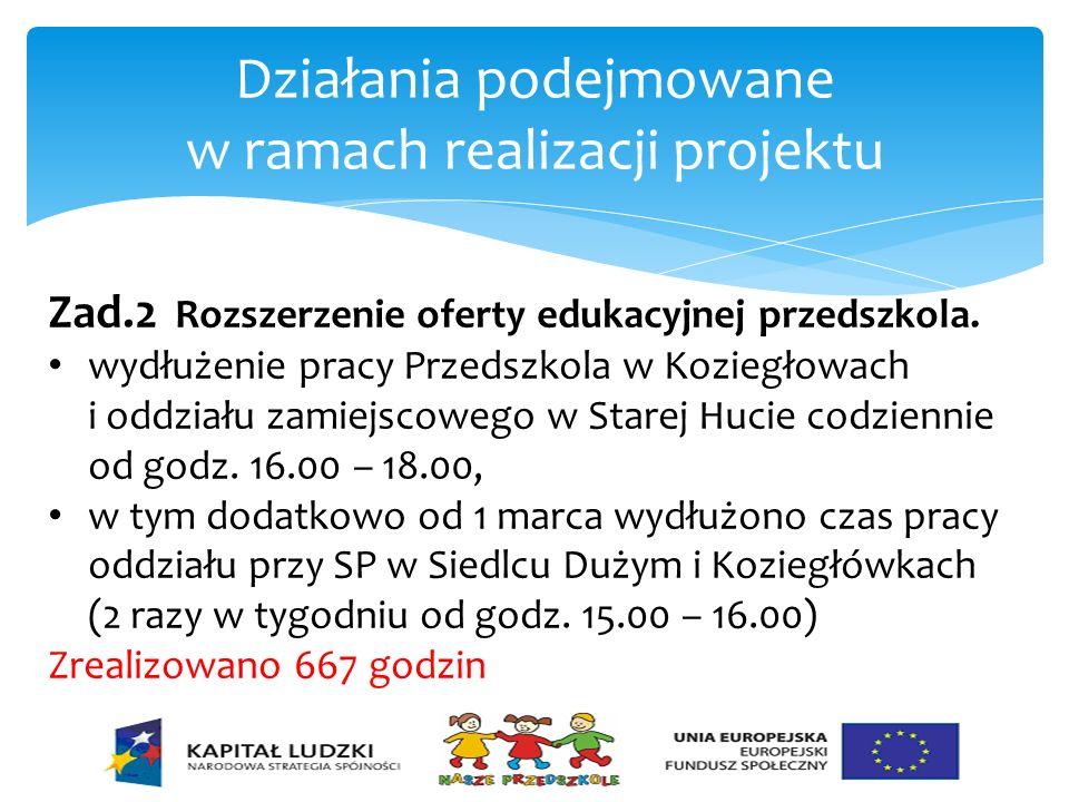 Działania podejmowane w ramach realizacji projektu Zad.2 Rozszerzenie oferty edukacyjnej przedszkola. wydłużenie pracy Przedszkola w Koziegłowach i od