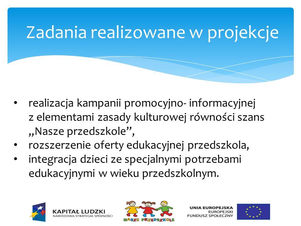 Zadania realizowane w projekcje realizacja kampanii promocyjno- informacyjnej z elementami zasady kulturowej równości szans Nasze przedszkole, rozszer
