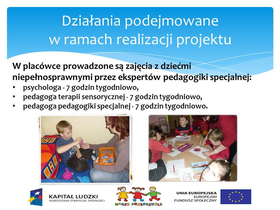 Działania podejmowane w ramach realizacji projektu W placówce prowadzone są zajęcia z dziećmi niepełnosprawnymi przez ekspertów pedagogiki specjalnej: