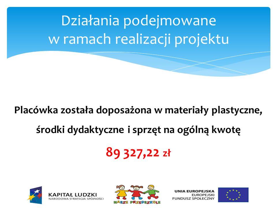 Działania podejmowane w ramach realizacji projektu Placówka została doposażona w materiały plastyczne, środki dydaktyczne i sprzęt na ogólną kwotę 89