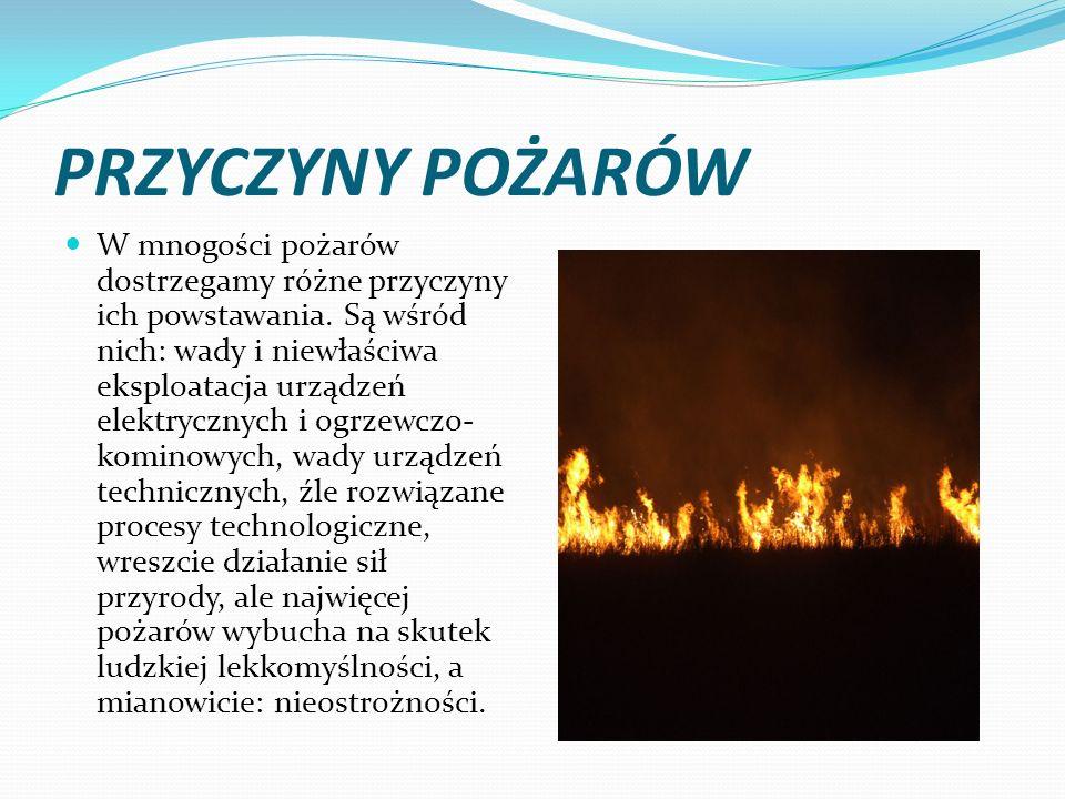 PRZYCZYNY POŻARÓW W mnogości pożarów dostrzegamy różne przyczyny ich powstawania. Są wśród nich: wady i niewłaściwa eksploatacja urządzeń elektrycznyc