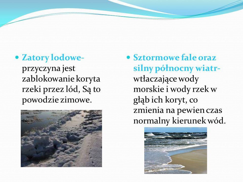 Zatory lodowe- przyczyna jest zablokowanie koryta rzeki przez lód, Są to powodzie zimowe. Sztormowe fale oraz silny północny wiatr- wtłaczające wody m