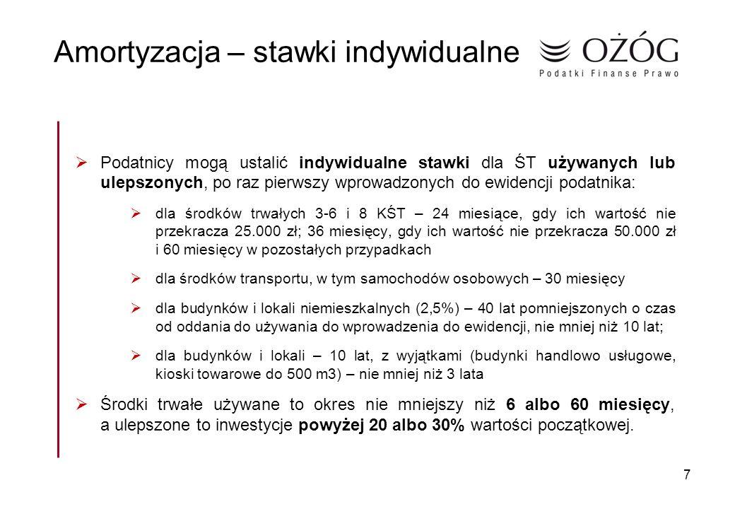 7 Amortyzacja – stawki indywidualne Podatnicy mogą ustalić indywidualne stawki dla ŚT używanych lub ulepszonych, po raz pierwszy wprowadzonych do ewid