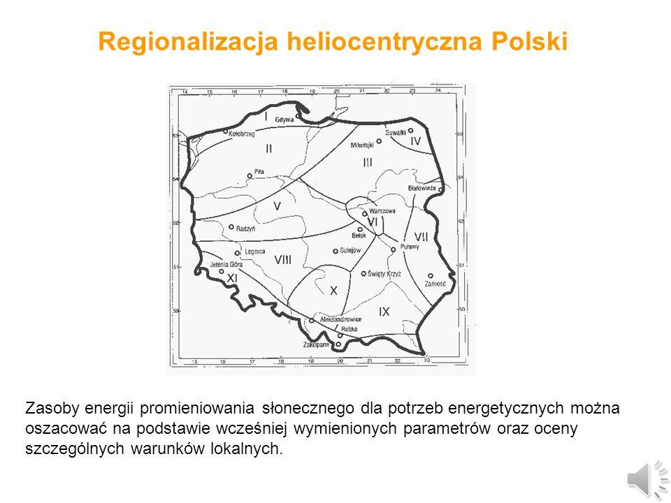 Wartości napromieniowania słonecznego dla Polski Najniższe sumy miesięczne występują w grudniu (ok.1,3% sumy rocznej), najwyższe zaś w czerwcu i lipcu (po ok.