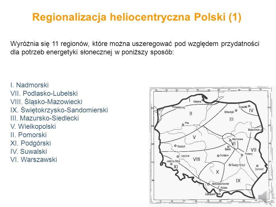 Regionalizacja heliocentryczna Polski Zasoby energii promieniowania słonecznego dla potrzeb energetycznych można oszacować na podstawie wcześniej wymienionych parametrów oraz oceny szczególnych warunków lokalnych.