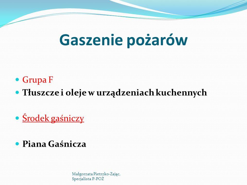 Gaszenie pożarów Grupa F Tłuszcze i oleje w urządzeniach kuchennych Środek gaśniczy Piana Gaśnicza Małgorzata Pietrzko-Zając, Specjalista P-POŻ