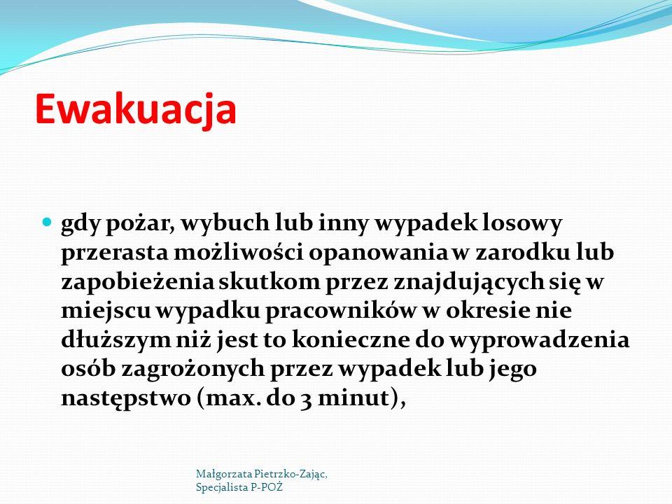 Ewakuacja gdy siły pomocy z zewnątrz lub straż pożarna nie mogą stawić się w czasie gwarantującym zbędność ewakuacji, d) gdy warunki ewakuacji są niekorzystne, niezgodne z obowiązującymi przepisami stwarzając utrudnienia ewakuacji ludzi, Małgorzata Pietrzko-Zając, Specjalista P-POŻ