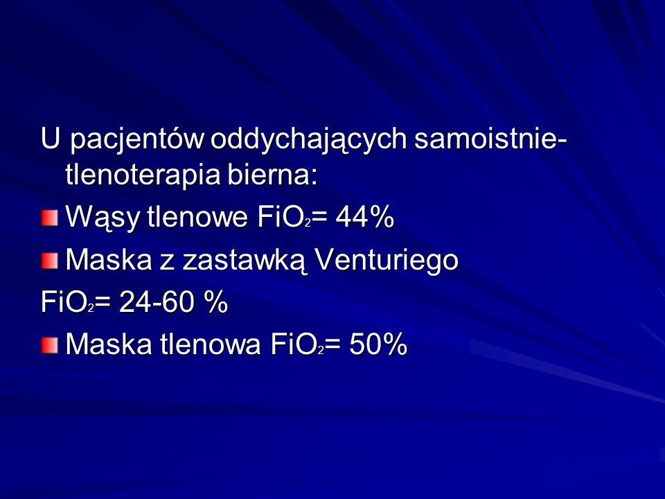 U pacjentów oddychających samoistnie- tlenoterapia bierna: Wąsy tlenowe FiO 2 = 44% Maska z zastawką Venturiego FiO 2 = 24-60 % Maska tlenowa FiO 2 =