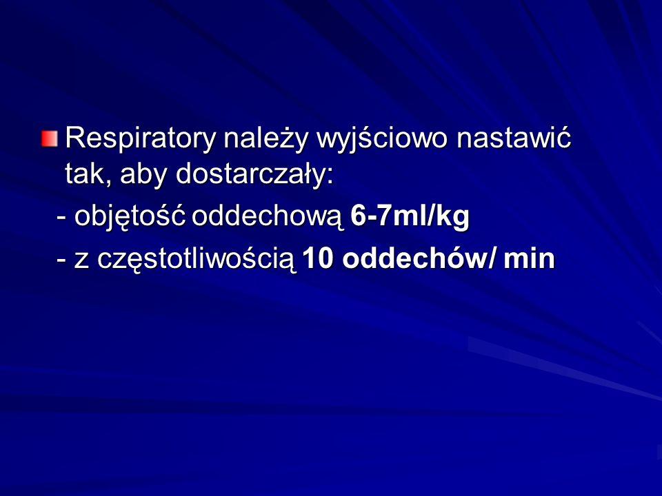 Respiratory należy wyjściowo nastawić tak, aby dostarczały: - objętość oddechową 6-7ml/kg - objętość oddechową 6-7ml/kg - z częstotliwością 10 oddechó