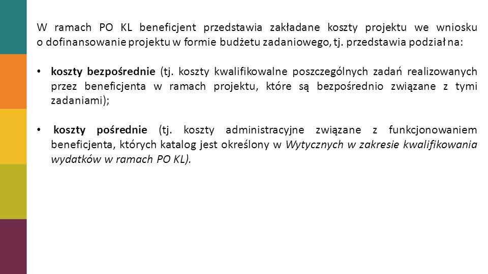 W ramach PO KL beneficjent przedstawia zakładane koszty projektu we wniosku o dofinansowanie projektu w formie budżetu zadaniowego, tj.