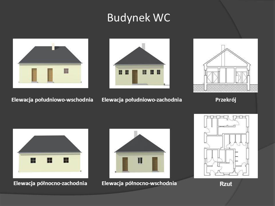 Budynek WC Elewacja południowo-zachodniaElewacja południowo-wschodnia Elewacja północno-wschodniaElewacja północno-zachodnia Przekrój Rzut