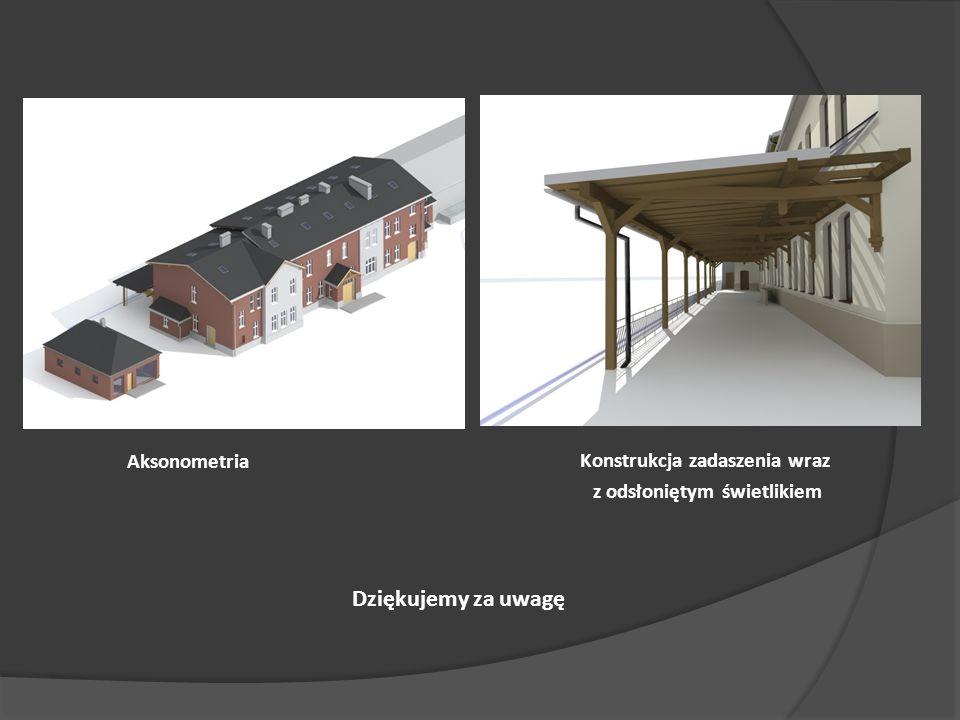 Konstrukcja zadaszenia wraz z odsłoniętym świetlikiem Dziękujemy za uwagę Aksonometria