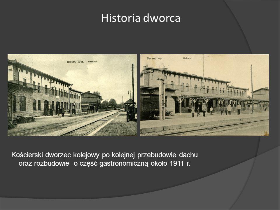Kościerski dworzec kolejowy po kolejnej przebudowie dachu oraz rozbudowie o część gastronomiczną około 1911 r. Historia dworca
