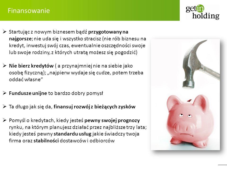 Finansowanie Startując z nowym biznesem bądź przygotowany na najgorsze; nie uda się i wszystko stracisz (nie rób biznesu na kredyt, inwestuj swój czas