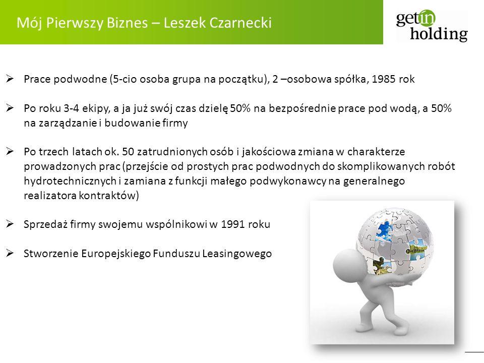 Mój Pierwszy Biznes – Leszek Czarnecki Prace podwodne (5-cio osoba grupa na początku), 2 –osobowa spółka, 1985 rok Po roku 3-4 ekipy, a ja już swój cz