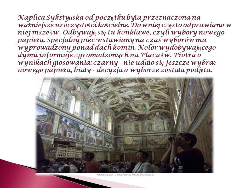 Freski na ś cianach bocznych Ś ciany i sufit Kaplicy zdobi ą freski.