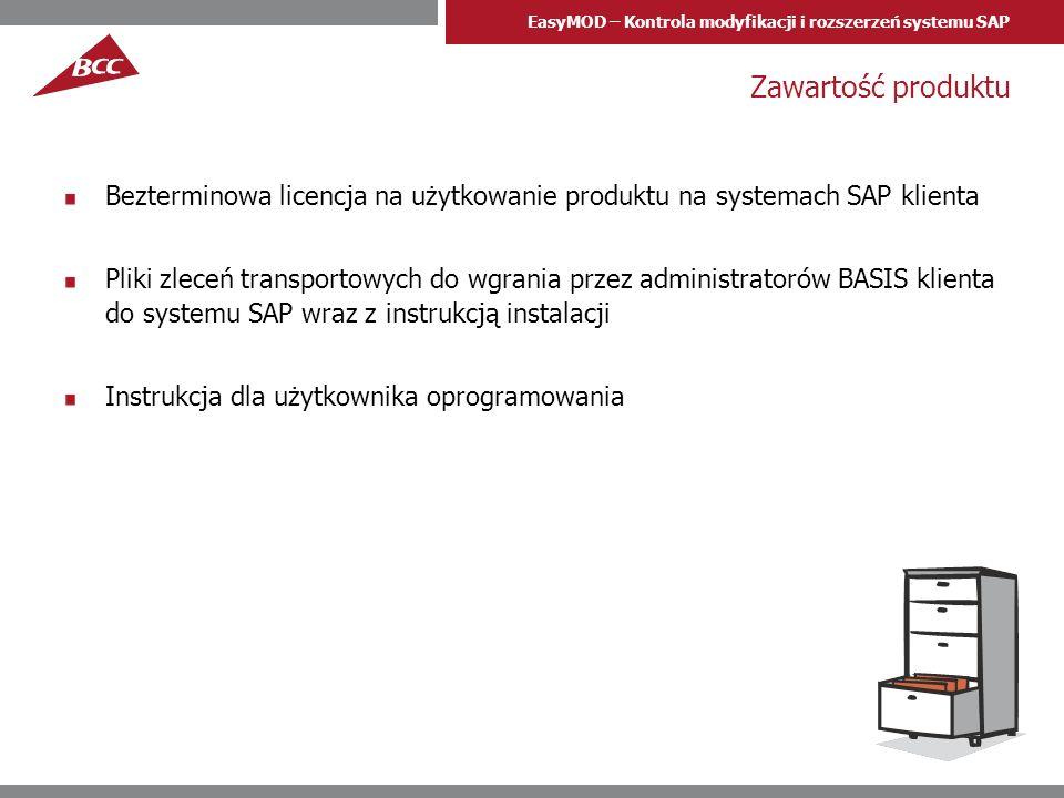 EasyMOD – Kontrola modyfikacji i rozszerzeń systemu SAP Zawartość produktu Bezterminowa licencja na użytkowanie produktu na systemach SAP klienta Plik