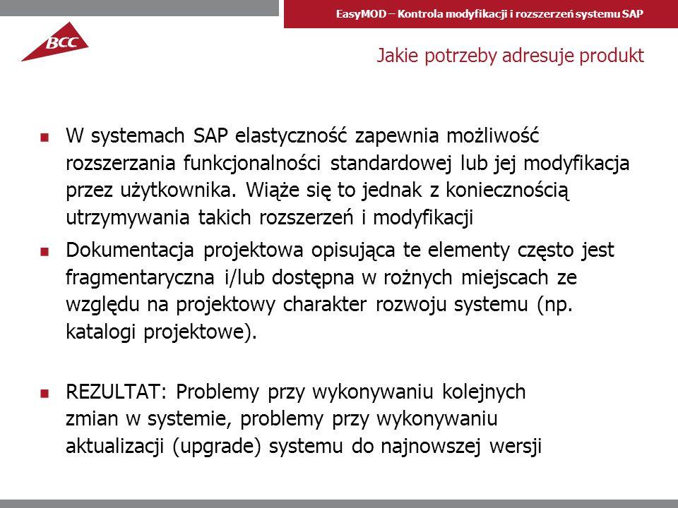 EasyMOD – Kontrola modyfikacji i rozszerzeń systemu SAP Jakie potrzeby adresuje produkt W systemach SAP elastyczność zapewnia możliwość rozszerzania f