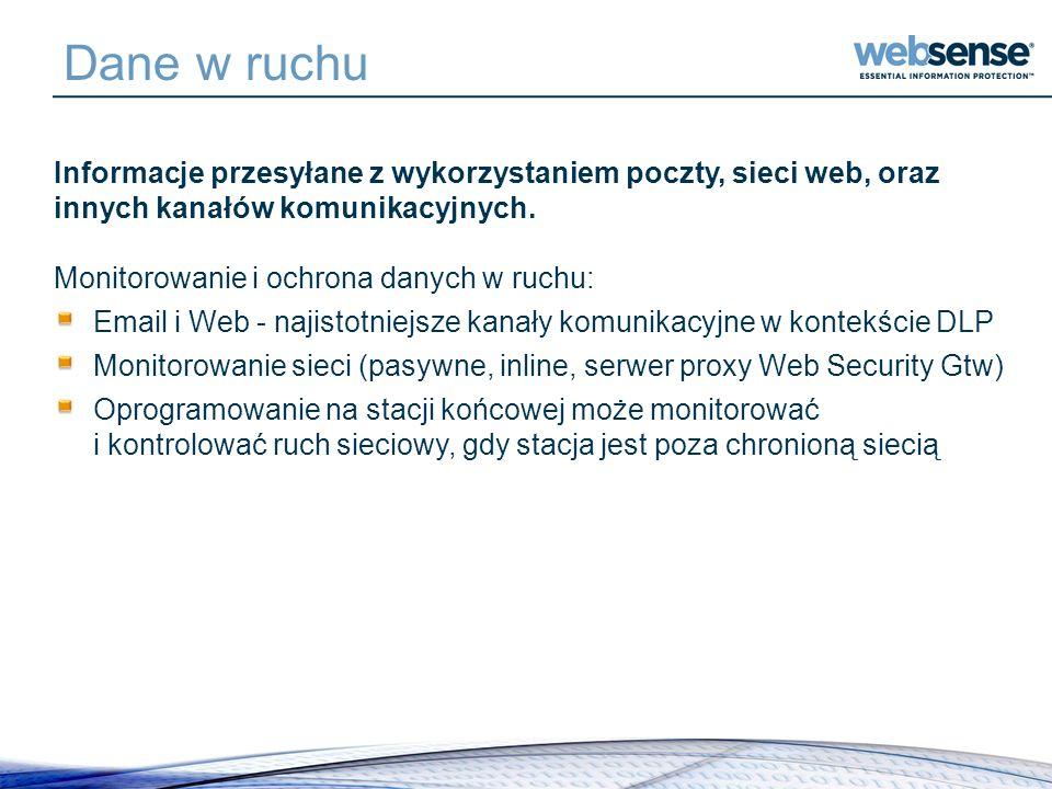 Dane w ruchu Informacje przesyłane z wykorzystaniem poczty, sieci web, oraz innych kanałów komunikacyjnych. Monitorowanie i ochrona danych w ruchu: Em