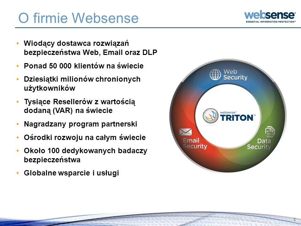 O firmie Websense 2 Wiodący dostawca rozwiązań bezpieczeństwa Web, Email oraz DLP Ponad 50 000 klientów na świecie Dziesiątki milionów chronionych uży