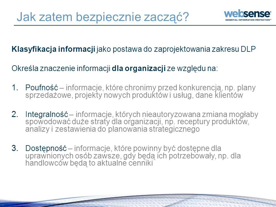 Jak zatem bezpiecznie zacząć? Klasyfikacja informacji jako postawa do zaprojektowania zakresu DLP Określa znaczenie informacji dla organizacji ze wzgl