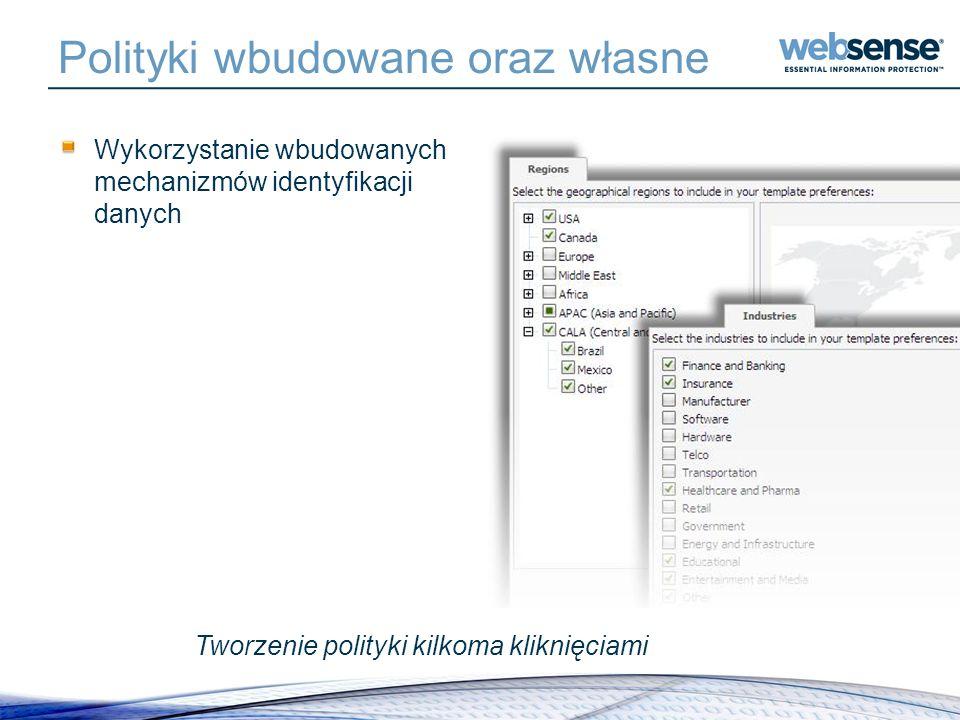 Polityki wbudowane oraz własne Wykorzystanie wbudowanych mechanizmów identyfikacji danych Tworzenie polityki kilkoma kliknięciami