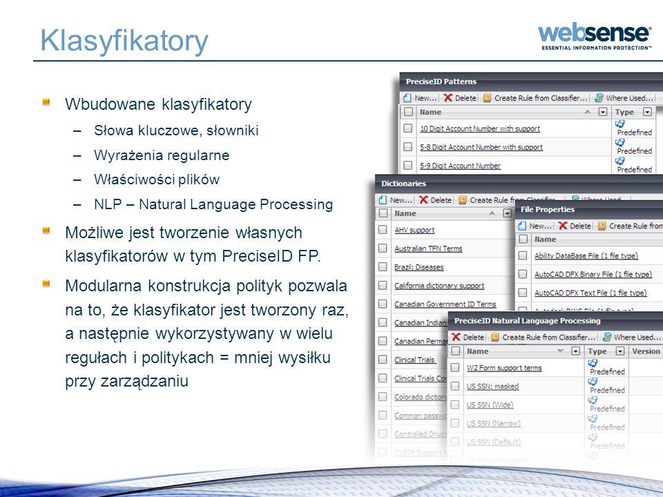 Klasyfikatory Wbudowane klasyfikatory –Słowa kluczowe, słowniki –Wyrażenia regularne –Właściwości plików –NLP – Natural Language Processing Możliwe je