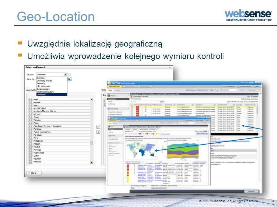 Geo-Location Uwzględnia lokalizację geograficzną Umożliwia wprowadzenie kolejnego wymiaru kontroli © 2010 Websense, Inc. All rights reserved.34