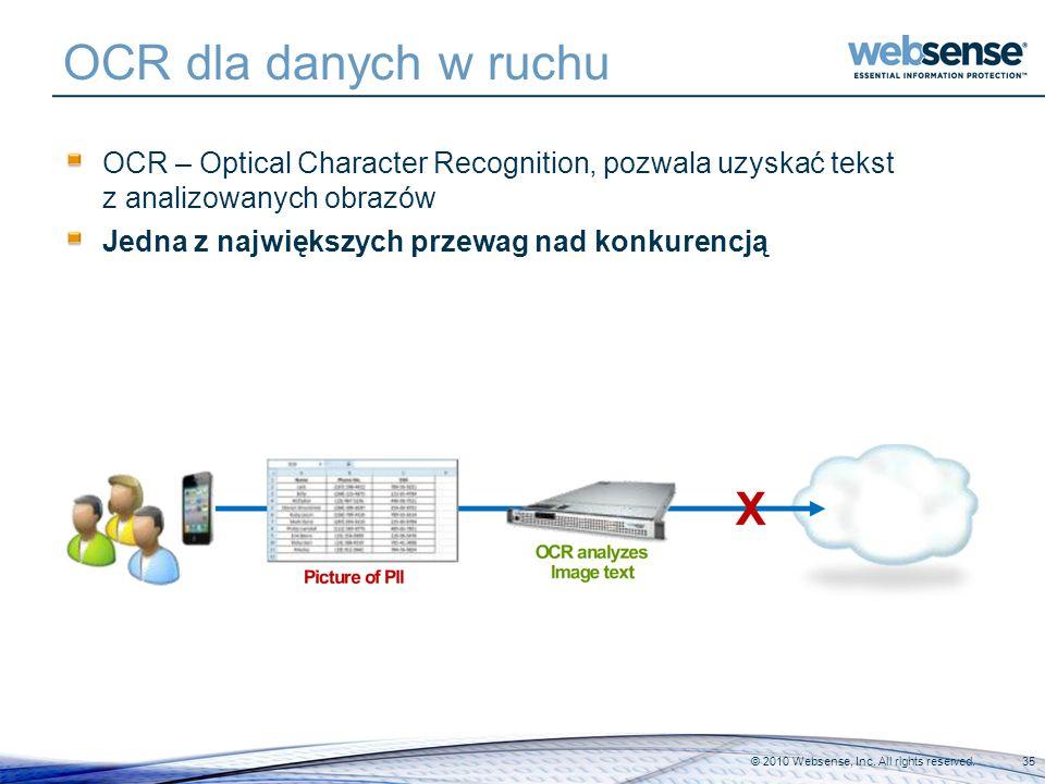 OCR dla danych w ruchu OCR – Optical Character Recognition, pozwala uzyskać tekst z analizowanych obrazów Jedna z największych przewag nad konkurencją