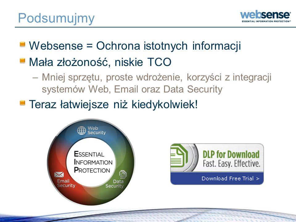Podsumujmy Websense = Ochrona istotnych informacji Mała złożoność, niskie TCO –Mniej sprzętu, proste wdrożenie, korzyści z integracji systemów Web, Em