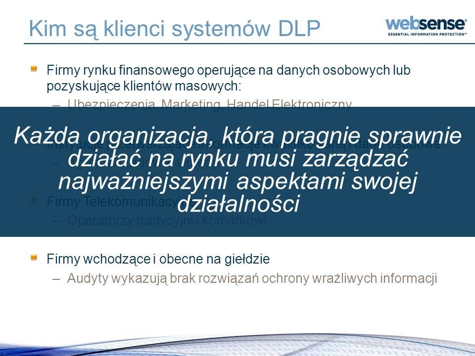Kim są klienci systemów DLP Firmy rynku finansowego operujące na danych osobowych lub pozyskujące klientów masowych: –Ubezpieczenia, Marketing, Handel